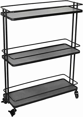 Benjara Industrial Style Metal Frame 3 Tier Trolley with Casters, Black