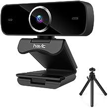 havit Webcam 1080P Enfoque automático Cámara Web Full HD USB 2.0 con Micrófono de reducción de Ruido Incorporado, Giratorio de 360 Grado,cámara Web portátil con Soporte, para Ordenador/PC,Negro