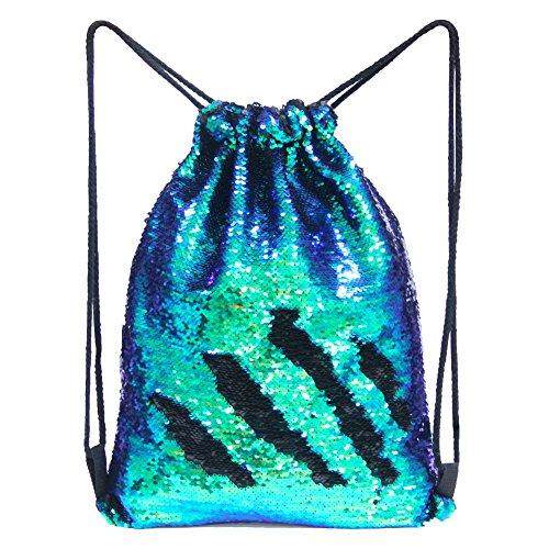 Basumee Wenden Pailletten Turnbeutel Rucksack Zweifarbig Glitzer Tunnelzug Tasche für Kinder und Erwachsene aus Polyester (Fantastisch Grün und Schwarz)