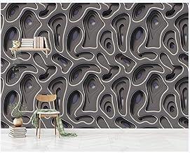 Papel Pintado Pared Papel Pared Textura En Relieve De Arte Geométrico Gris Papel Pintado 3D Mural Pared Fotomurales Decora...