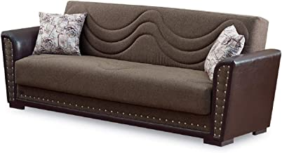 BEYAN Toronto Collection Modern Large Convertible Sofa Sleeper Bed with Storage Space Includes 2 Pillows, Dark Brown, Nailhead Trim