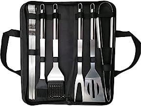 Likey Grillbesteck Set, 10-teilig Grillwerkzeug-Set,Grillzange, Grillwender, Grillbürste, Grillspieße, Fleischgabel, Silikon-Backpinsel
