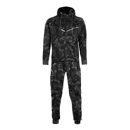 Mens Army Camo Design Tracksuit Hoodie Zipper Joggers 2 Piece Designer Suit