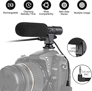 Rechargeable Camera Video Microphone SmilePowo Photography Interview Stereo Microphone MIC (3.5mm Interface) for Sony Canon Nikon Panasonic Camera DV Camcorder (NOT for Canon T5 T5i T6 T6i Sony A6000)