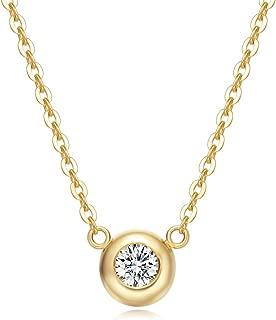 Carleen Solid 18K Gold Solitaire Bezel Setting 0.1cttw Diamond Dainty Delicate Pendant Neckace for Women Girls, 16+2