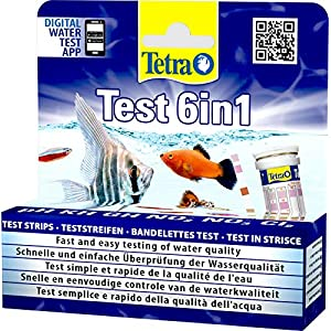 Tetra Test 6-in-1 Strips Aquarium to Test 6 Essential Water Quality Parameters in Less Than 60 Seconds, Pack of 25