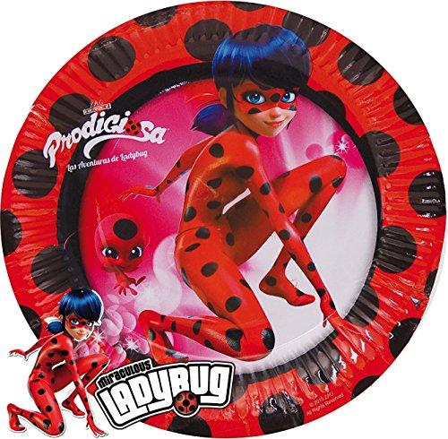8 Teller * LADYBUG * für Kindergeburtstag oder Superheldinnen-Mottoparty // Marienkäfer Miraculous Lady Bug Partyteller Pappteller Plates Motto Party