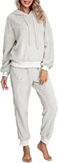 Womens Fuzzy Sherpa Fleece Pajamas Set, Long Sleeve...