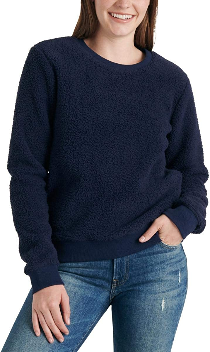 Lucky Brand Women's Sherpa Crew Neck Pullover Sweater
