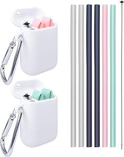 Pajitas plegables de silicona reutilizables - Juego de 13 piezas Pajita de beber flexible, portátil, apta para uso alimentario, colorida, con estuche, Sin BPA, Seguro para niños/niños pequeños