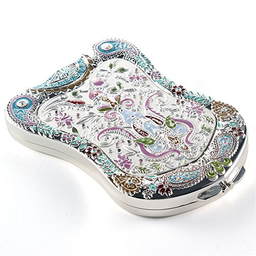 Jinvun Silver Antique-Like Compact Mirror: Durable Purse Travel Makeup Mirror With Luxury Vintage Design, Shield Shape, Magnification & Clear Reflection-Unique Jewellery Gift