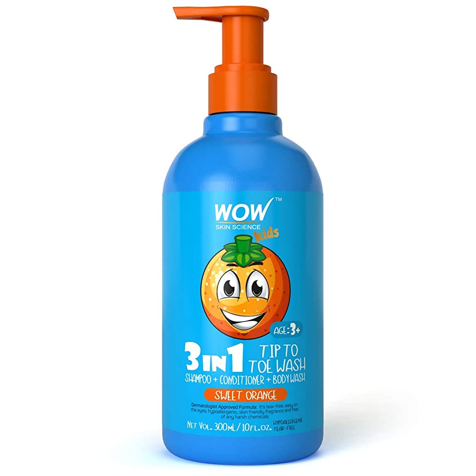WOW Kids Tip to Toe Wash - Shampoo - Conditioner - Body Wash- No Sulphates & Parabens - Sweet Orange - 300 mL