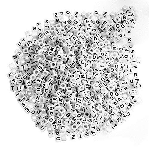 500/600/800 unidades de 6 mm, perlas acrílicas con letras del alfabeto y dados, para fabricación de joyas, pulseras, collares, juguetes para niños, 800 unidades, color blanco como en la imagen.