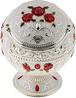 IPOTCH Delicate Embossment Globe Shape Jewelry Box Jar Retro Metal Windproof Ashtray, Fancy Gifts,Two Style(Rose/Castle),M...