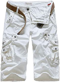 Amoystyle Men's Relaxed Fit Long Cargo Shorts Capri Pants 7 Colors US 30-38