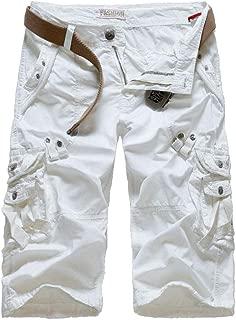 Men's Relaxed Fit Long Cargo Shorts Capri Pants 7 Colors US 30-38