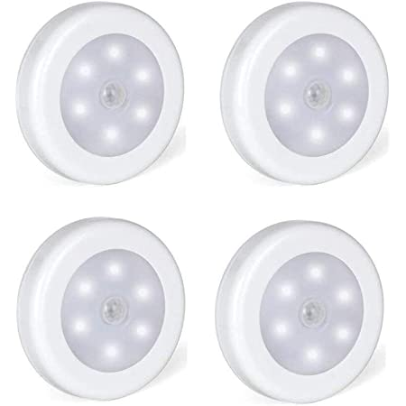 Foonii Lot de 4 Lampe adhésive LED, Eclairage LED Détecteur de Mouvement avec Base Magnétique (Alimenté par batterie)