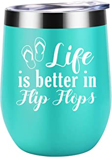 Life is Better in Flip Flops - Summer Beach Gifts for Women - Funny RV, Lake, Sea, Pool Vacation Themed Birthday, Christmas Gifts for Mom, Grandma, Best Friend, BFF, Coworker - Coolife Wine Tumbler