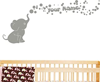 Elephant Bubbles Personalized Name Wall Decal
