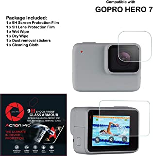 Action Pro 9H Tempered Glass Front & Back Protector Compatible with GoPro Hero 7 White and 7 Silver Action Camera (Pack of 2)