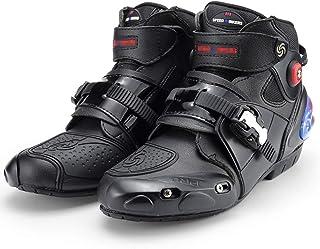 Sooiy Moto Stivali da Uomo Che corre Blindata Stivali Pesanti su Strada Motocross Morbido Stivaletti Stivali da Equitazione,Bianca,40