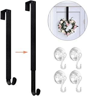 VIS'V Wreath Hanger, 15-24 Inch Adjustable Metal Wreath Hanger for Front Glass Door 20 LB Heavy Duty Wreath Holder with 4 Suction Cup Hooks for Christmas Decorations - Black
