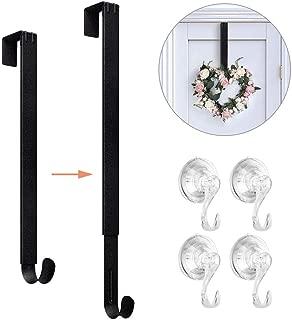 VIS'V Wreath Hanger, 15-24 Inch Adjustable Metal Wreath Hanger with 4 Suction Cup Hooks for Front Door 20 LB Heavy Duty Wreath Holder for Christmas Decorations - Matte Black