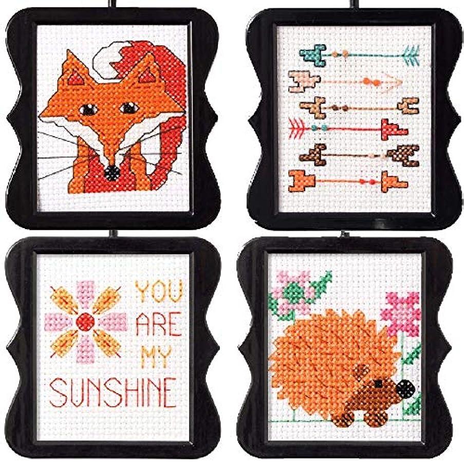 4 Item Bundle of My 1st Cross Stitch Kits: Fox, Sunshine, Hedgehog, Arrows