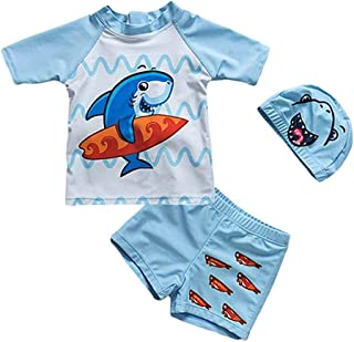 DNggAND Baby Toddler Boys Two Pieces Swimsuit Set Swimwear Shark Bathing Suit Rash Guards with Hat UPF 50+