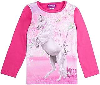 Miss Melody Niñas T-Shirt, Camisa de Manga Larga, Pink
