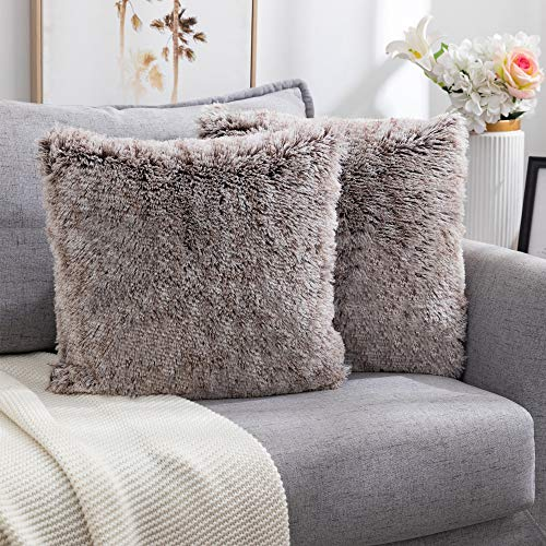 Nanhiking Funda de cojín decorativa de pelo sintético suave, para sofá, dormitorio, coche, salón, al aire libre, juego de 2 unidades, 40 x 40 cm, color blanco y marrón (blanco y café, 40 x 40 cm)
