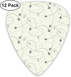 Guitar Picks - Abstract Art Colorful Designs,Airline Route Map Flight Jet Destination Control Fly Theme Textured Travel Trip Journey,Unique Guitar Gift,For Bass Electric & Acoustic Guitars-12 Pack