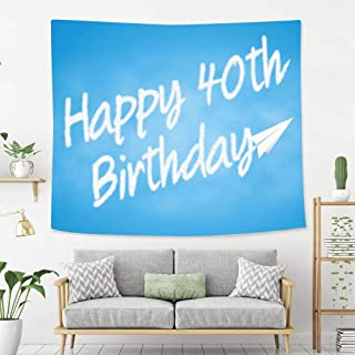 Creative Custom Tapestry 40th Birthday Decorations Celebration Theme Clouds in Blue Sky and Paper Plane Flying Print Blue Wall Art Decoration for Bedroom Living Room Dorm, Window Curtain Picnic Mat