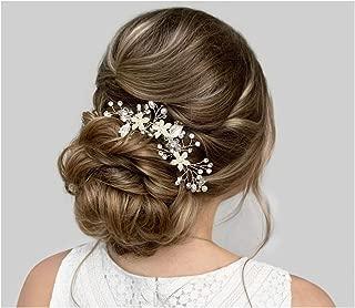 SWEETV Wedding Hair Comb Silver Pearl Flower Bridal Clip Rhinestone Hair Accessories for Bride Women