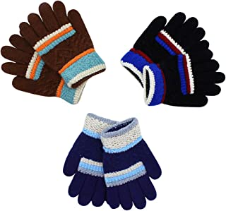 RARITY-US (3 Pairs) Warm Soft Winter Knit Gloves for Kids Boys Girls Baby Colorful Glove with Stripe Mittens (0 to 8Y)