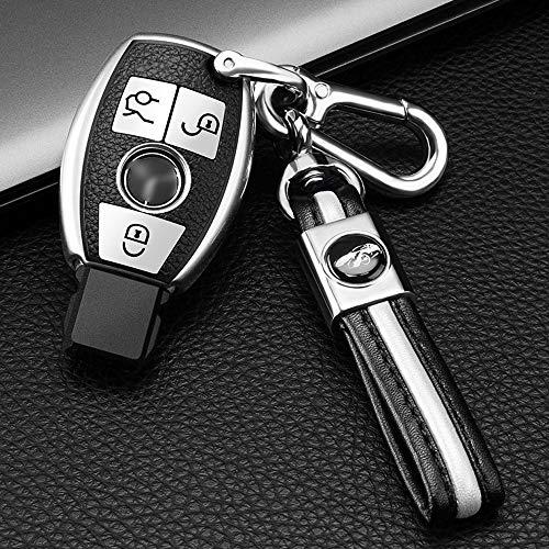 ontto Smart 3 Taste Autoschlüssel Hülle Abdeckung für Mercedes A B C E ML S R CLK SLK GLE Klasse W203 W164 Silikon und Leder Schlüsselhülle Schlüsselanhänger Schlüsselbox Schlüsselschutz-Silber
