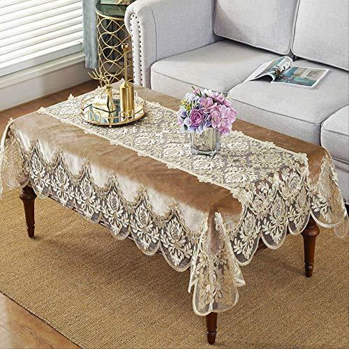 ZSWFGG Gold samt couchtisch Tuch einfache tischdecke Stickerei gezeichnet garn couchtisch Handtuch feine tischdecke kleines quadratisches Handtuch 130 * 180 cm
