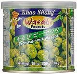Khao Shong Erdnüsse mit Wasabi, knackige Erdnüsse im scharfen Teigmantel, knuspriger Snack für unterwegs, mittlere Schärfe, 1 x 140 g Dose