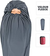 Litume Velour Fleece Sleeping Bag Liner Add Up to 12F, Anti Static Mummy Sleeping Sack Backpacking, Camping, Traveling, Lightweight Sleep Sack with Drawstring Hood