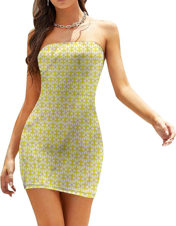 Women's Sleeveless Sexy Tube Top Dress Flourishing Flowers Spring Dresses