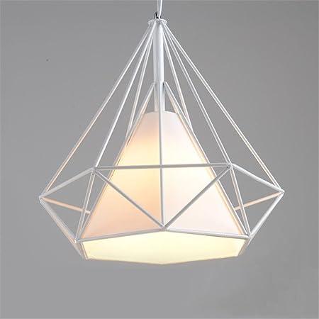 Tobaling Lustre Suspension E27 Cage en Fer Forme Diamant avec Douille Eclairage pour Décor Restaurant Salle Chambre (BLANC, S<25CM>)