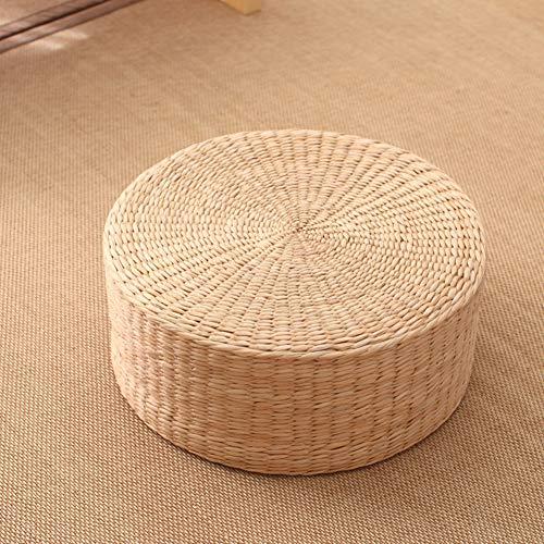 ZXCC Stoelkussen van stro, plat materiaal, rond, vloerkussen, tatami, verdikking, zitkussen voor meditatie, yoga, thee