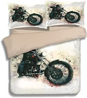 Motocross Stunt - 3PC Set Twin Duvet Cover, Printed Comforter Cover with Zipper Design, Unique Bedding Sets for Kids
