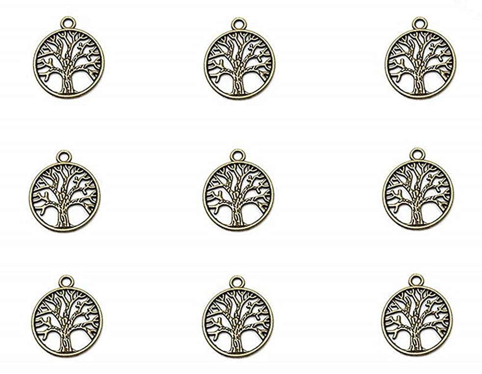 50pcs The Sephirothic Tree Kabbalah Tree Of Life Lucky Charm Pendant for DIY Crafting Key Chain Bracelet Necklace jewelry Making Findings Accessories(Antique Bronze)