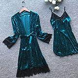 SDCVRE Pijama camisón de Invierno,Terciopelo Negro 2CPS Conjunto de Bata de Kimono Sexy Bata Ropa de Dormir para Dama Joven Ropa de Dormir Encaje Sexy Vestir para el hogar Camisón Corto para el hoga