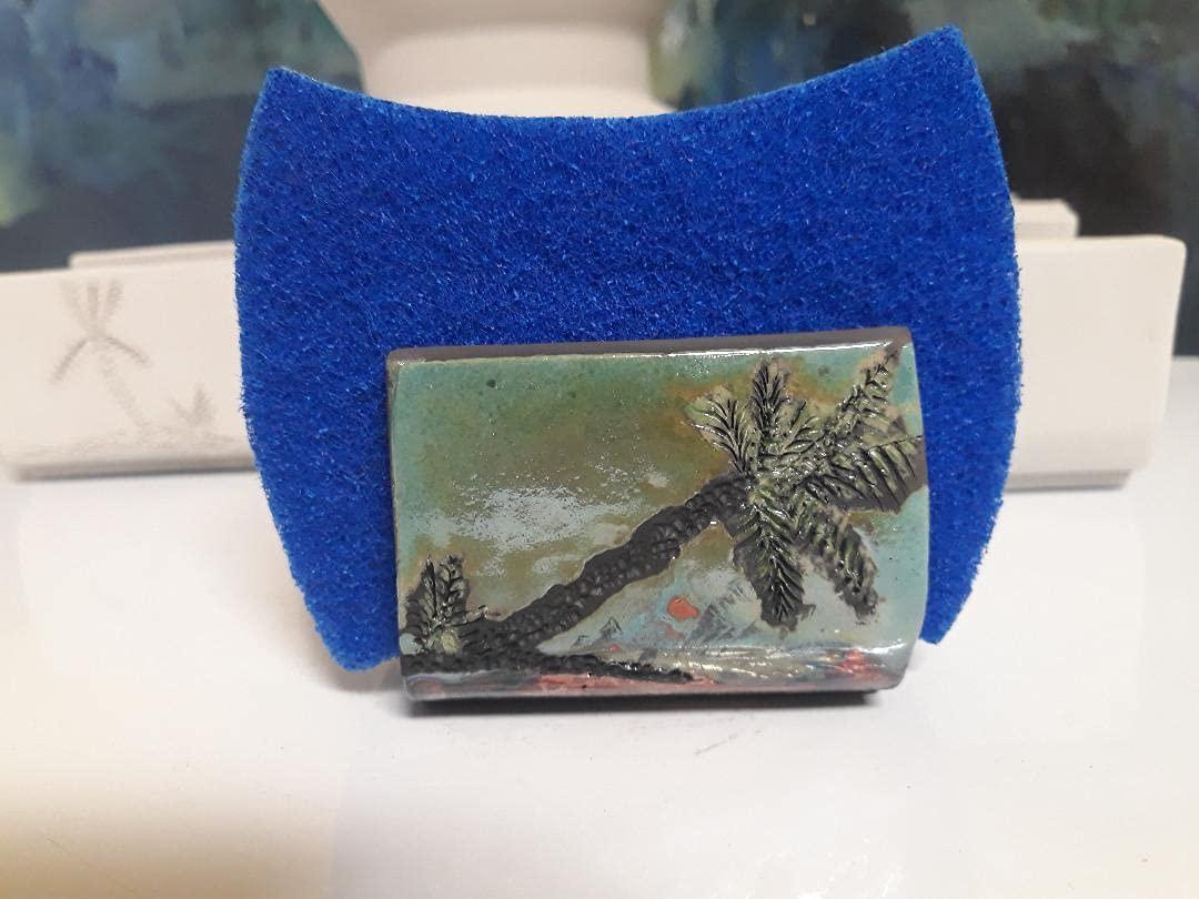 OFFicial shop Raku Pottery Sponge Holder Hand Thrown Iridescent Max 48% OFF Green Sea