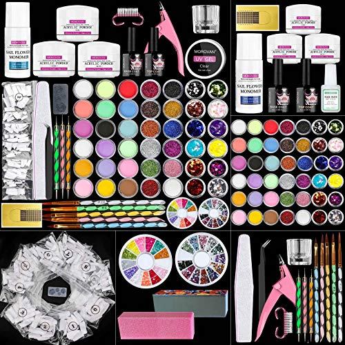 Morovan Acrylic Nail Kit - 42 Colors Glitter Acrylic Nail Powder and Monomer Acrylic Nail Liquid Set Nail Tips Acrylic Powder System for Nail Extension and Decoration 3D Manicure DIY Acrylic Nails