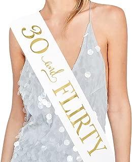 ADBetty 30 and Flirty Sash – 30th Birthday Sash Birthday Girl Sash Birthday Party Favours, Supplies and Decorations