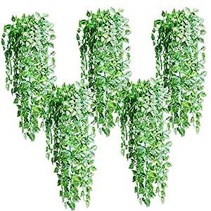 Silk Flower Arrangements Superper 5Pcs Hanging Artificial Silk Plant Leaf Vine Rattan Garland Faux Plastic Greenery Shrubs Home Party Wedding Hanging Decor 5pcs