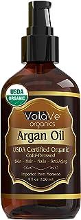 VoilaVe Virgin USDA Organic Moroccan Argan Oil for Hair & Skin – 4 fl. oz. – USDA & ECOCERT Certified, Cold-Pressed, Unref...